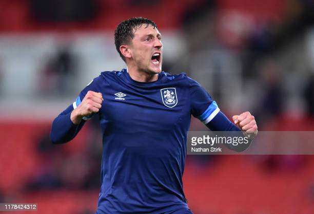 Tommy Elphick of Huddersfield reacts during the Sky Bet Championship match between Stoke City and Huddersfield Town at Bet365 Stadium on October 01...