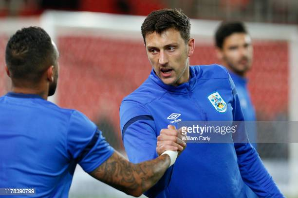 Tommy Elphick of Huddersfield Town and Danny Simpson of Huddersfield Town during the Sky Bet Championship match between Stoke City and Huddersfield...