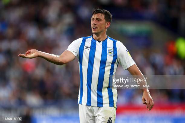 Tommy Elphick of Huddersfield Town during the Sky Bet Championship match between Huddersfield Town and Derby County at John Smith's Stadium on August...