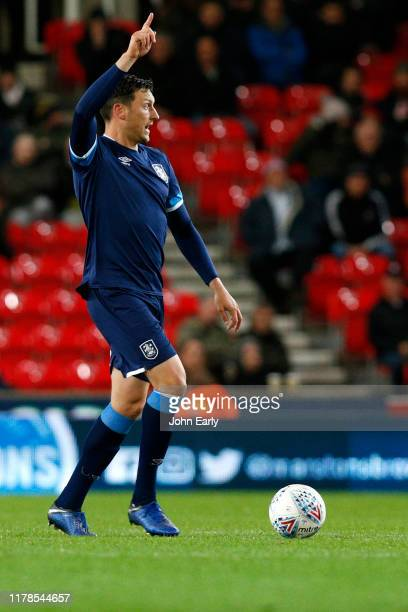 Tommy Elphick of Huddersfield Town during the Sky Bet Championship match between Stoke City and Huddersfield Town at Bet365 Stadium on October 01...
