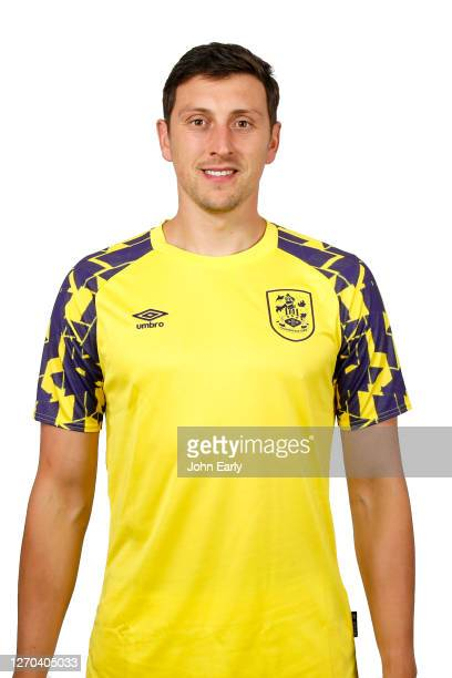 Tommy Elphick of Huddersfield Town in the second alternate kit for the 2020/21 season on August 31 2020 in Huddersfield England