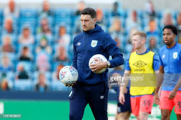 Tommy Elphick of Huddersfield Town prior to the Sky Bet Championship match between Millwall and Huddersfield Town at The Den on July 22 2020 in...