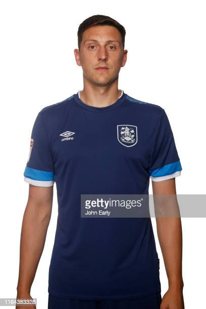 Tommy Elphick of Huddersfield Town wearing the 2019/20 second kit on July 23 2019 in Huddersfield England