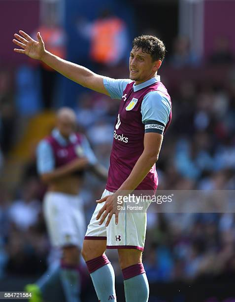 Tommy Elphick of Villa reacts during the pre season friendly between Aston Villa and Middlesbrough at Villa Park on July 30 2016 in Birmingham England