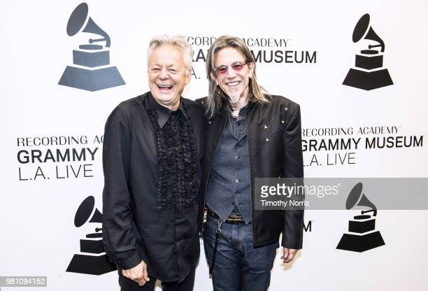 Tommy Emmanuel and Scott Goldman speak during An Evening with Tommy Emmanuel at The GRAMMY Museum on June 21 2018 in Los Angeles California