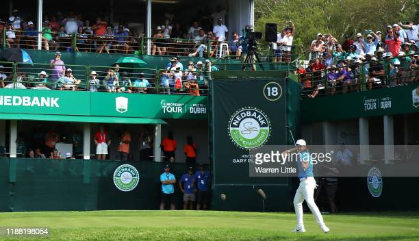 Tommy Fleetwood celebrates beating Marcus Kinhult in the play-off to win the Nedbank Golf Challenge during the fourth round of the Nedbank Golf...