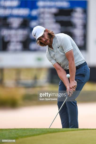 Tommy Fleetwood chips during the Second Round of the WGCDell Technologies Match Play on March 22 2018 at Austin Country Club in Austin TX