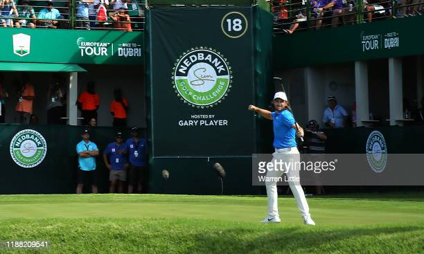 Tommy Fleetwood od England celebrates beating Marcus Kinhult of Sweden in the first extra hole playoff during the final round of the Nedbank Golf...