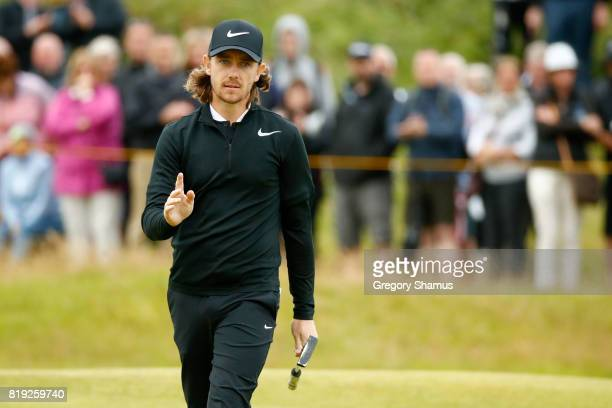 Tommy Fleetwood of England acknowledges the applause on the 4th green during the first round of the 146th Open Championship at Royal Birkdale on July...