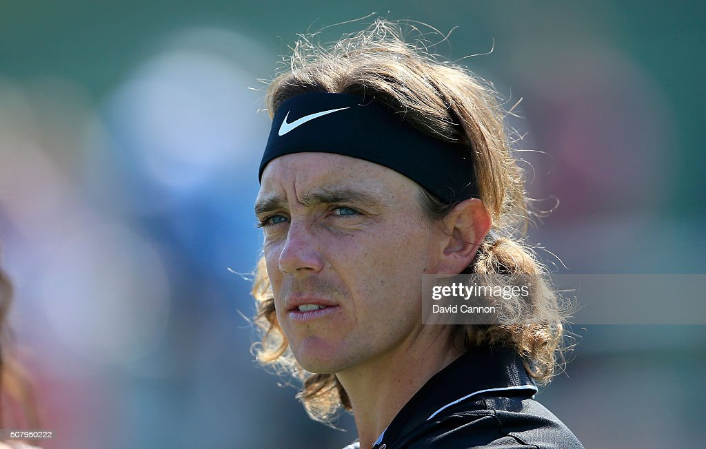 Tommy Fleetwood of England during his practice round as a preview for the 2016 Omega Dubai Desert Classic on the Majlis Course at the Emirates Golf Club on February 2, 2016 in Dubai, United Arab Emirates.