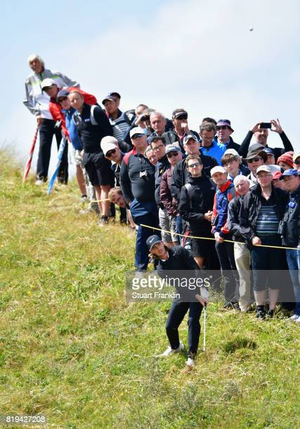 Tommy Fleetwood of England from the rough on the 17th hole during the first round of the 146th Open Championship at Royal Birkdale on July 20, 2017...