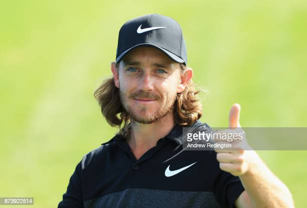 Tommy Fleetwood of England gives the thumbs up during the ProAm prior to the DP World Tour Championship at Jumeirah Golf Estates on November 14 2017...