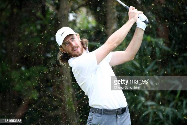 Tommy Fleetwood of England hits his tee shot on the 7th hole during the first round of the CJ Cup @Nine Bridges at the Club at Nine Bridges on...