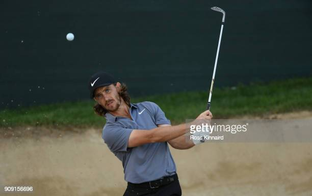 Tommy Fleetwood of England in action during a practice round prior to the Omega Dubai Desert Classic at Emirates Golf Club on January 23 2018 in...