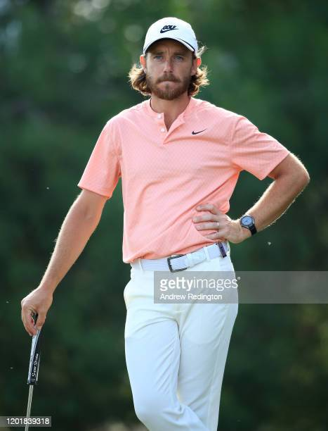 Tommy Fleetwood of England in action during Day Three of the Omega Dubai Desert Classic at Emirates Golf Club on January 25, 2020 in Dubai, United...