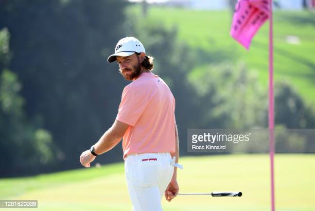 Tommy Fleetwood of England in action during the third round of the Omega Dubai Desert Classic at Emirates Golf Club on January 25, 2020 in Dubai,...