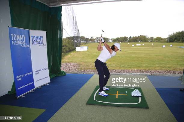Tommy Fleetwood of England is pictured during the launch of the Tommy Fleetwood Academy at Formby Hall Golf Resort Spa prior to the start of the...