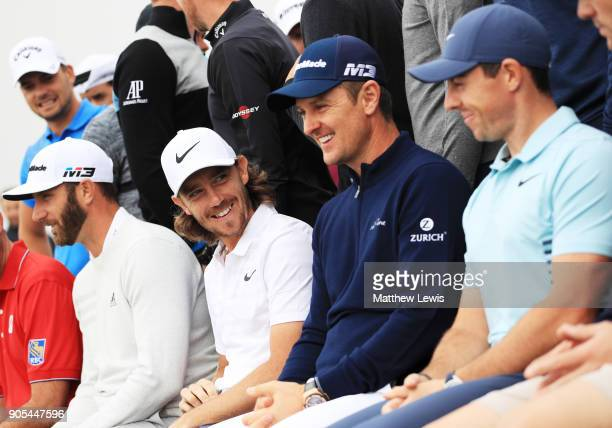 Tommy Fleetwood of England Justin Rose of England and Rory McIlroy of Northern Ireland take part in a photocall for the Abu Dhabi HSBC Golf...