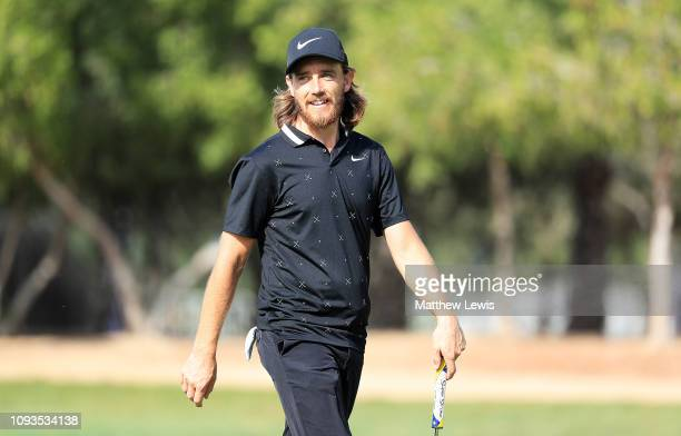 Tommy Fleetwood of England looks on during a practice round ahead of the Abu Dhabi HSBC Golf Championship at the Abu Dhabi Golf Club on January 13...