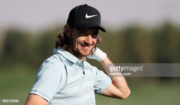 Tommy Fleetwood of England looks on during a practice round ahead of Abu Dhabi HSBC Golf Championship at Abu Dhabi Golf Club on January 15 2018 in...