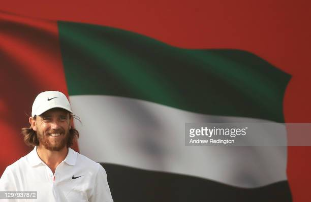 Tommy Fleetwood of England looks on during Day Three of the Abu Dhabi HSBC Championship at Abu Dhabi Golf Club on January 23, 2021 in Abu Dhabi,...