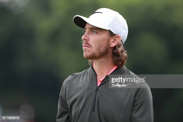 Tommy Fleetwood of England looks on during the second round of the Shenzhen International at Genzon Golf Club on April 22 2017 in Shenzhen China