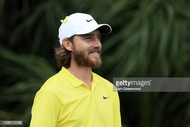 Tommy Fleetwood of England looks on from the third tee during the final round of the Honda Classic at PGA National Resort and Spa Champion course on...