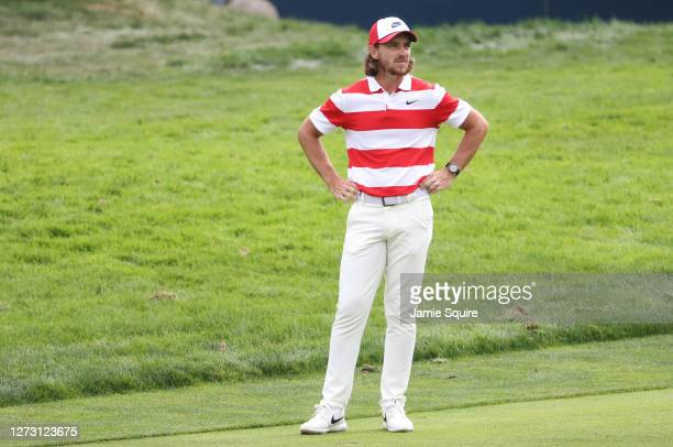 Tommy Fleetwood of England looks on over the 11th hole during the first round of the 120th U.S. Open Championship on September 17, 2020 at Winged...