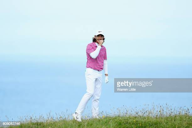 Tommy Fleetwood of England on the 16th during the ProAm of the Dubai Duty Free Irish Open at Portstewart Golf Club on July 5 2017 in Londonderry...