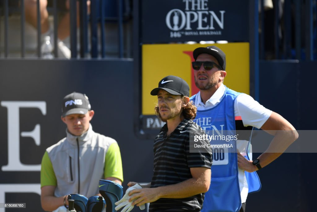 Tommy Fleetwood of England on the 1st hole during a practice round prior to the 146th Open Championship at Royal Birkdale on July 17, 2017 in Southport, England.