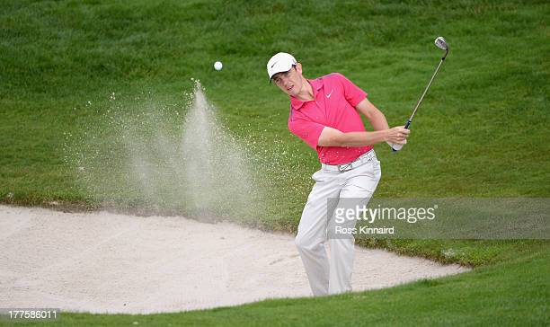 Tommy Fleetwood of England on the par five 16th hole during the third round of the Johnnie Walker Championship at Gleneagles on August 24, 2013 in...