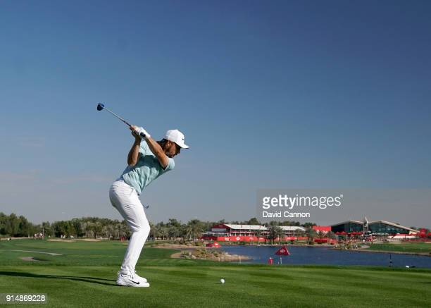 Tommy Fleetwood of England plays a 3 wood tee shot during the first round of the Abu Dhabi HSBC Golf Championship at Abu Dhabi Golf Club on January...