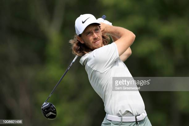 Tommy Fleetwood of England plays a shot during a practice round prior to the World Golf ChampionshipsBridgestone Invitational at Firestone Country...