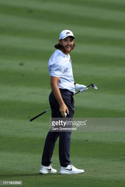 Tommy Fleetwood of England plays a shot during a practice round prior to The PLAYERS Championship on The Stadium Course at TPC Sawgrass on March 11,...