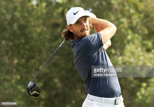 Tommy Fleetwood of England plays a shot during the proam prior to the Abu Dhabi HSBC Golf Championship at Abu Dhabi Golf Club on January 17 2018 in...