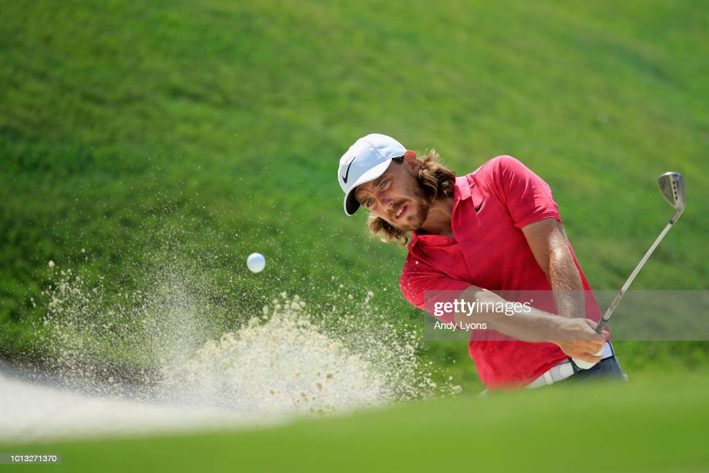 Tommy Fleetwood of England plays a shot from a bunker during a practice round prior to the 2018 PGA Championship at Bellerive Country Club on August 8, 2018 in St Louis, Missouri.