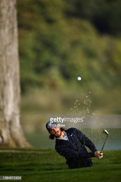 Tommy Fleetwood of England plays a shot from a bunker on the tenth hole during the second round of the 2020 PGA Championship at TPC Harding Park on...