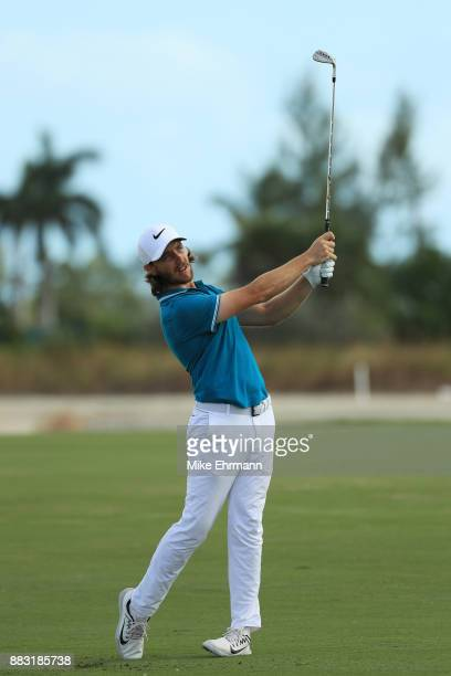 Tommy Fleetwood of England plays a shot on the 13th hole during the first round of the Hero World Challenge at Albany Bahamas on November 30 2017 in...