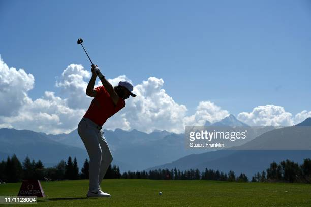 Tommy Fleetwood of England plays a shot on the 7th hole during Day Two of the Omega European Masters at CranssurSierre Golf Club on August 30 2019 in...