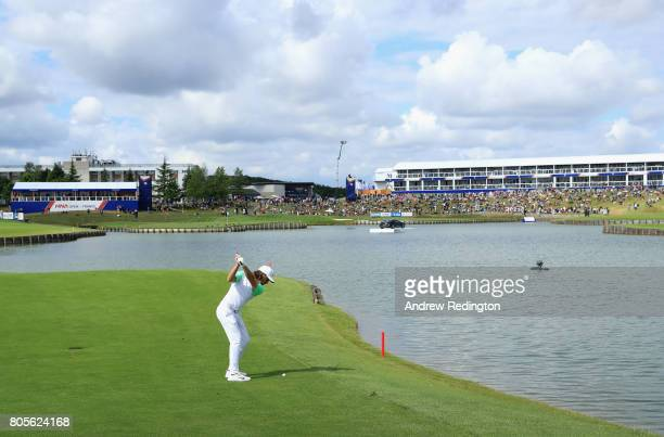 Tommy Fleetwood of England plays his second shot on the 15th during day four of the HNA Open de France at Le Golf National on July 2 2017 in Paris...