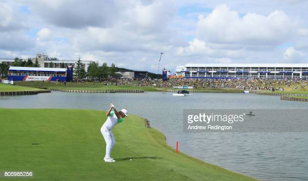 Tommy Fleetwood of England plays his second shot on the 15th hole during the final round of the HNA Open de France at Le Golf National on July 2 2017...