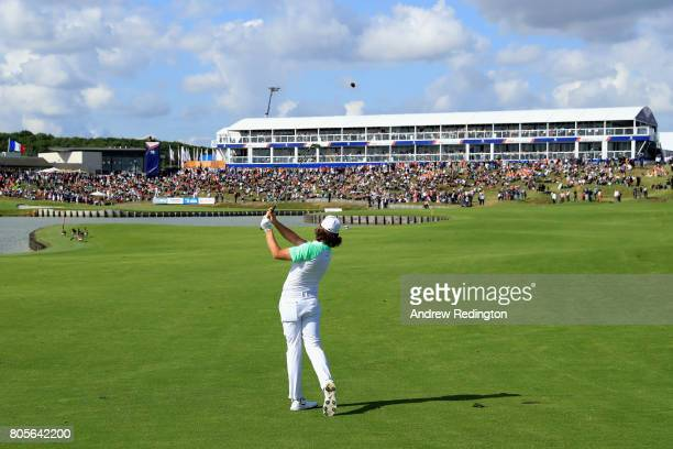 Tommy Fleetwood of England plays his second shot on the 18th during day four of the HNA Open de France at Le Golf National on July 2 2017 in Paris...