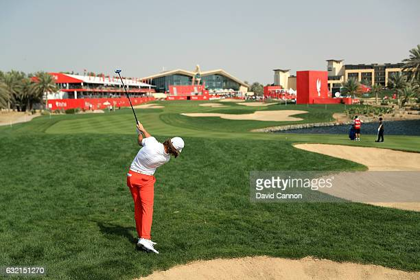 Tommy Fleetwood of England plays his second shot on the 18th hole during the second round of the Abu Dhabi HSBC Championship at the Abu Dhabi Golf...