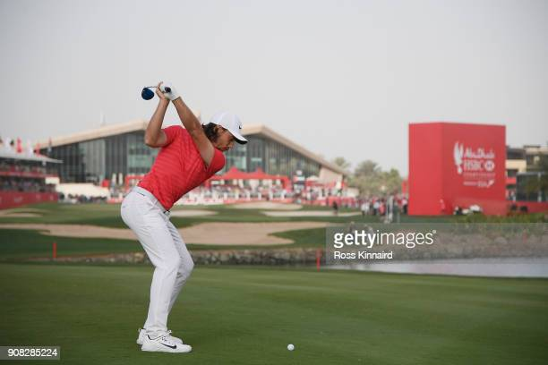 Tommy Fleetwood of England plays his second shot on the 18th hole during the final round of the Abu Dhabi HSBC Golf Championship at Abu Dhabi Golf...