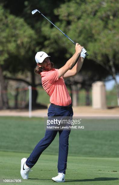 Tommy Fleetwood of England plays his second shot on the 6th fairway during Day Two of the Abu Dhabi HSBC Golf Championship at the Abu Dhabi Golf Club...