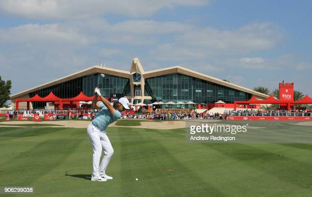 Tommy Fleetwood of England plays his second shot on the ninth hole during round one of the Abu Dhabi HSBC Golf Championship at Abu Dhabi Golf Club on...