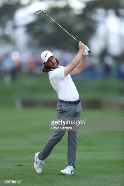 Tommy Fleetwood of England plays his second shot on the par 4, 10th hole during the first round of the 2019 Players Championship held on the Stadium...