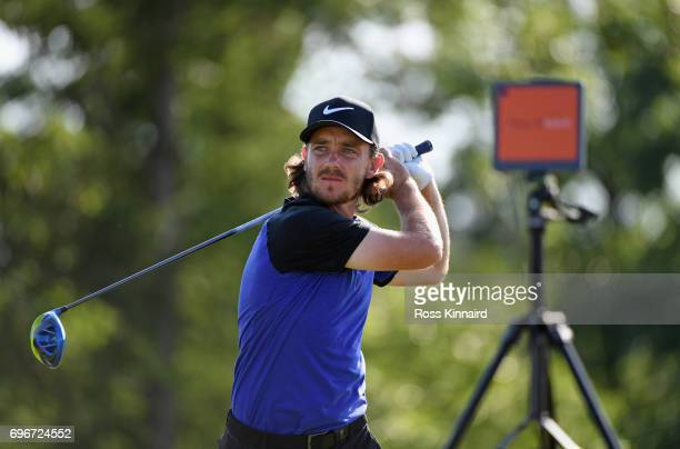 Tommy Fleetwood of England plays his shot from the 17th tee during the second round of the 2017 US Open at Erin Hills on June 16 2017 in Hartford...