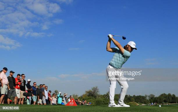 Tommy Fleetwood of England plays his shot from the 18th tee during round one of the Abu Dhabi HSBC Golf Championship at Abu Dhabi Golf Club on...