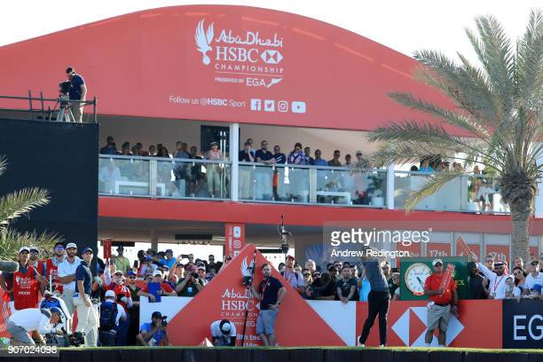 Tommy Fleetwood of England plays his shot from the 18th tee during round two of the Abu Dhabi HSBC Golf Championship at Abu Dhabi Golf Club on...